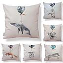 baratos Anéis-6 pçs Téxtil / Algodão / Linho Fronha, Art Deco / Estampado / Animal Simples / Forma Quadrada