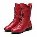tanie Dance Boots-Damskie Obuwie taneczne Skóra bydlęca Na obcasie Niski obcas Buty do tańca Czarny / Czerwony / Wydajność