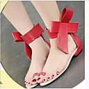 זול סנדלי נשים-בגדי ריקוד נשים נעליים PU קיץ נוחות סנדלים שטוח שחור / אדום / שקד
