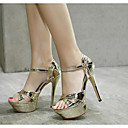 cheap Women's Sandals-Women's Shoes PU(Polyurethane) Summer Basic Pump Sandals Stiletto Heel Open Toe Gold / Silver / Party & Evening / Party & Evening