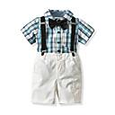 ieftine Seturi Îmbrăcăminte Băieți-Copil Băieți Vintage / Șic Stradă Școală Bloc Culoare / Carouri În Cruce / Imprimeu Manșon scurt Bumbac Set Îmbrăcăminte
