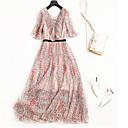 cheap Women's Sandals-Women's Daily / Weekend Basic / Street chic Maxi A Line / Swing Dress - Geometric Lace up High Waist V Neck Summer Pink M L XL