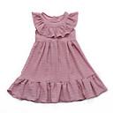 tanie Sukienki dla dziewczynek-Dzieci Dla dziewczynek Podstawowy Codzienny Solidne kolory Bez rękawów Bawełna / Poliester Sukienka Czerwony