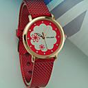 preiswerte Modische Uhren-Damen Armbanduhr Quartz Armbanduhren für den Alltag Plastic Band Analog Blume Modisch Schwarz / Weiß / Rot - Rosa Hellblau Goldenschwarz