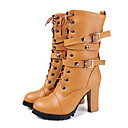 cheap Women's Boots-Women's Shoes PU(Polyurethane) Spring / Fall Novelty / Fashion Boots Boots Chunky Heel Round Toe Mid-Calf Boots Rivet / Buckle White /