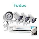 abordables Kits NVR-funlux® 4ch 1080p hdmi nvr poe simplificado 4x 720p hd sistema de cámara de seguridad para exteriores / interiores 1tb disco duro