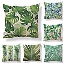 cheap Pillow Covers-6 pcs Textile / Cotton / Linen Pillow case, Simple / Leaf / Printing Square Shaped / Tropical