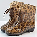 ieftine Sandale de Damă-Pentru femei Piele PVC Toamnă Confortabili / Cizme de Ploaie Cizme Toc Drept Negru / Leopard
