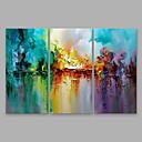 Χαμηλού Κόστους Ελαιογραφίες-Hang-ζωγραφισμένα ελαιογραφία Ζωγραφισμένα στο χέρι - Αφηρημένο Μοντέρνα Περιλαμβάνει εσωτερικό πλαίσιο / Τρίπτυχα / Επενδυμένο καμβά