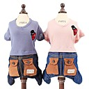 cheap Dog Clothes-Dogs Cats Pets Jumpsuit Dog Clothes Simple Patchwork Floral / Botanical Dark Blue Pink Cotton / Polyester Costume For Pets Male Logo