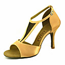 cheap Latin Shoes-Women's Latin Shoes / Salsa Shoes Satin Sandal / Heel Buckle / Ribbon Tie Customized Heel Customizable Dance Shoes Yellow / Fuchsia / Purple / Performance / Leather / Professional