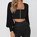 cheap CCTV Cameras-Women's Holiday Basic / Street chic Lantern Sleeve Blouse - Solid Colored Backless Square Neck