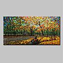 tanie Pejzaże-Hang-Malowane obraz olejny Ręcznie malowane - Abstrakcja / Krajobraz Nowoczesny Naciągnięte płótka / Rozciągnięte płótno