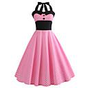 cheap 3D Duvet Covers-Women's Daily / Going out Vintage A Line Dress - Polka Dot Print Halter Neck Summer Cotton Pink L XL XXL