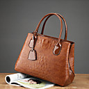cheap Totes-Women's Bags PU Leather Tote Zipper Crocodile Black / Red / Brown
