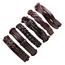 cheap Abstract Paintings-Stack Leather Bracelet - Fashion Bracelet Black For Ceremony / Street / 6pcs