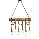 זול מנורות תלויות-6-ראש 80cm וינטג קנבוס חבל עם תליון במבוק הלופט יצירתי סלון חדר אוכל מסעדה חנות בגדים