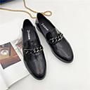 זול סניקרס לנשים-בגדי ריקוד נשים נעליים PU אביב נוחות נעליים ללא שרוכים עקב עבה בוהן עגולה שחור / חום כהה