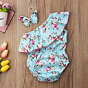 cheap Baby Girls' One-Piece-Baby Girls' Vintage / Active Going out Floral Bow / Ruffle Sleeveless Bodysuit