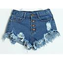 זול מכנסיים לנשים-בגדי ריקוד נשים בסיסי רזה ג'ינסים מכנסיים - מותניים גבוהים אחיד