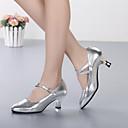 זול נעליים מודרניות-בגדי ריקוד נשים נעליים מודרניות עור עקבים עקב מותאם מותאם אישית נעלי ריקוד זהב / כסף / הצגה