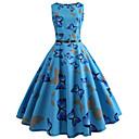 billige Trendy klokker-Dame Vintage Swing Kjole - Dyr, Trykt mønster Knelang