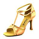 abordables Zapatos de Baile Latino-Mujer Zapatos de Baile Latino / Zapatos de Salsa Satén Sandalia / Tacones Alto Hebilla / Corbata de Lazo Tacón Personalizado Personalizables Zapatos de baile Bronce / Almendra / Nudo / Cuero