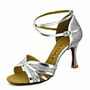 cheap Latin Shoes-Women's Latin Shoes / Salsa Shoes Sparkling Glitter / Leatherette Sandal / Heel Buckle / Ribbon Tie Customized Heel Customizable Dance Shoes Gold / Black / Silver / Performance / Professional