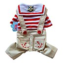 cheap Dog Clothes-Dogs / Cats / Pets Jumpsuit Dog Clothes Striped / Sailor / Floral / Botanical Red / Blue Cotton / Polyester Costume For Pets Male Retro /