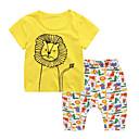 ieftine Pantaloni Fete & Leginși-Copii / Copil Unisex Leu Imprimeu Manșon scurt Set Îmbrăcăminte