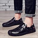 tanie Męskie mokasyny-Męskie Komfortowe buty Skóra Lato Sandały Czarny / brązowy