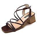 זול נעלי עקב לנשים-בגדי ריקוד נשים PU קיץ נוחות סנדלים חסום את העקב בז' / חום כהה