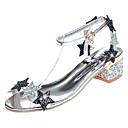 זול נעלי עקב לנשים-בגדי ריקוד נשים נעליים PU קיץ נוחות סנדלים חסום את העקב שחור / כסף