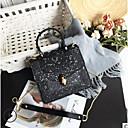 ieftine Genți Umeri-Pentru femei Genți PU Umăr Bag Buton Negru / Argintiu / Roz Îmbujorat