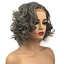 cheap Synthetic Capless Wigs-Synthetic Lace Front Wig Women's Curly Gray Bob Synthetic Hair For Black Women Gray Wig Mid Length Lace Front Grey StrongBeauty