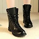 abordables Zapatillas de Deportiva de Hombre-Mujer Zapatos PU Otoño Botas de Combate Botas Tacón Bajo Mitad de Gemelo Negro