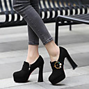 cheap Women's Heels-Women's Shoes Suede Fall & Winter Basic Pump Heels Chunky Heel Round Toe Rhinestone Black / Party & Evening