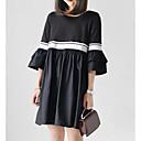 olcso Lány ruhák-Női Vintage Extra méret Pamut Nadrág - Egyszínű Fekete-fehér, Pliszé Fekete / Puffos / Alkalmi