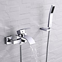 cheap Kitchen Faucets-Bathtub Faucet - Contemporary Chrome Wall Installation Ceramic Valve / Single Handle Two Holes