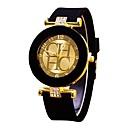 preiswerte Mode Uhr-Paar Uhr Armbanduhr Quartz Silikon Schwarz / Weiß / Blau Chronograph Armbanduhren für den Alltag Cool Analog damas Modisch Uhr mit Wörtern Grün Blau Rosa / Ein Jahr