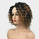 cheap Synthetic Lace Wigs-Synthetic Lace Front Wig Curly Middle Part Synthetic Hair Ombre Hair / For Black Women Light Brown Wig Women's Mid Length Lace Front