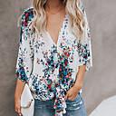 baratos Brincos-Mulheres Blusa - Para Noite / Praia Floral / Geométrica Decote V