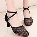 cheap Modern Shoes-Women's Modern Shoes Lace Heel Thick Heel Dance Shoes Gold / Black / Silver / Performance / Practice