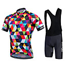 cheap Bike Frame Bags-21Grams Men's Women's Short Sleeve Cycling Jersey with Bib Shorts - Rainbow Argyle Plus Size Bike Bib Shorts Jersey Bib Tights Breathable 3D Pad Quick Dry Sweat-wicking Sports Polyester Lycra Argyle