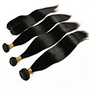 cheap Human Hair Weaves-Peruvian Hair Straight One Pack Solution 3 Bundles With  Closure Human Hair Weaves Extention Natural Black Human Hair Extensions Women's