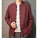 זול תיקי צד-אחיד צווארון עומד(סיני) פשתן, חולצה - בגדי ריקוד גברים / שרוול ארוך