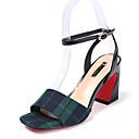 ieftine Sandale de Damă-Pentru femei Pantofi Microfibre Vară Confortabili Sandale Toc Îndesat Negru / Rosu / Verde