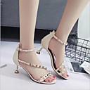 זול סנדלי נשים-בגדי ריקוד נשים נעליים PU קיץ נוחות סנדלים עקב קצר פתוח בבוהן אבזם שחור / בז' / ורוד