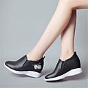 ieftine Flip-Flops de Damă-Pentru femei Pantofi Piele Primavara vara Confortabili Mocasini & Balerini Toc Jos Vârf rotund Alb / Negru