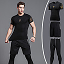 cheap Men's Sandals-Men's Patchwork Three-piece Suit Running Tights / Running Shirt With Shorts - Black+Sliver, Dark Gray, Dark Green Sports Color Block Tracksuit Activewear Anatomic Design, Breathable, Compression High